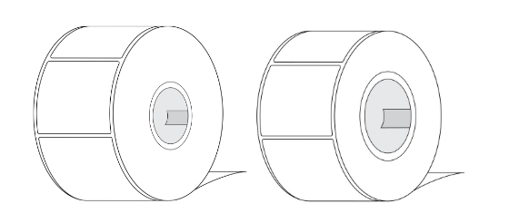 "Image of LabelBasic 2"" Core Label Roll and 3"" Core Label Roll"